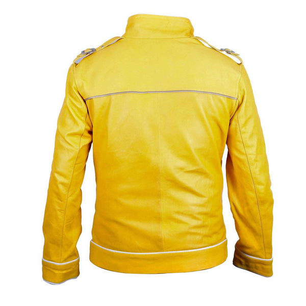 Freddie Mercury Concert Military Yellow Leather Jacket -