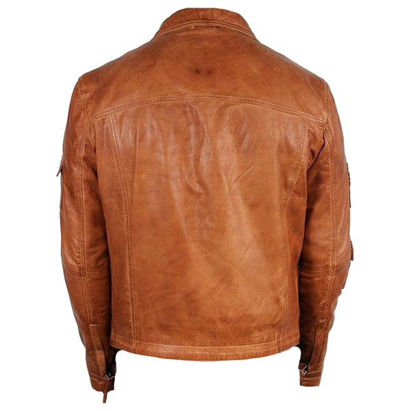 VINTAGE BROWN MEN LEATHER JACKET CLASSIC STUNNING -