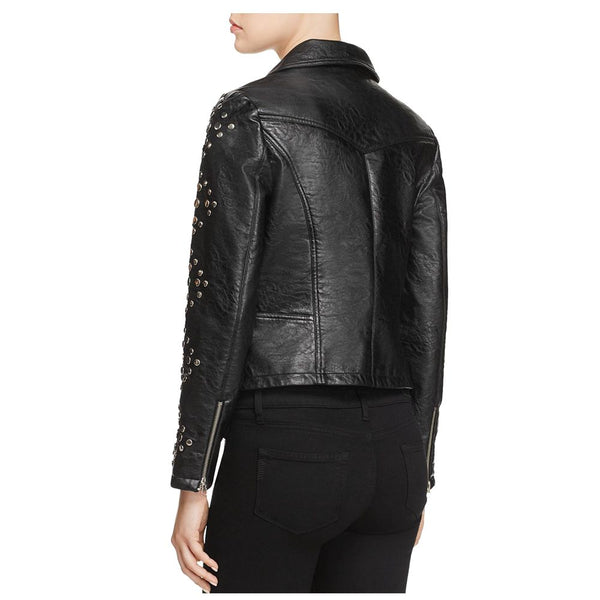 Women Pin Studded Biker Leather Jacket Black -