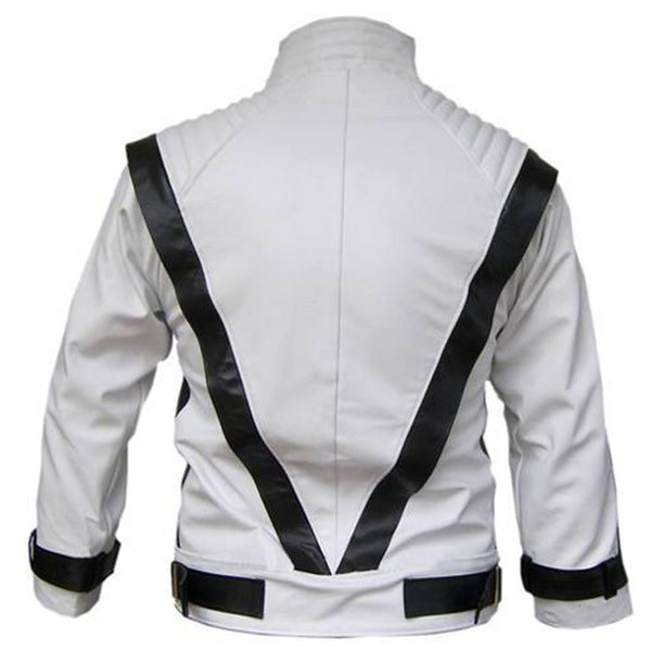 Michael Jackson Thriller Black Stripes White Leather Jacket -