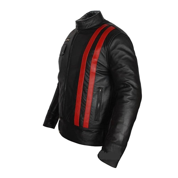 Red Strip Biker Leather Jacket - Jackethunt
