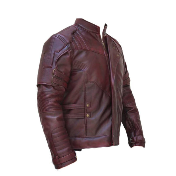 Men Burgundy Lapel Strips Military Leather Jacket -