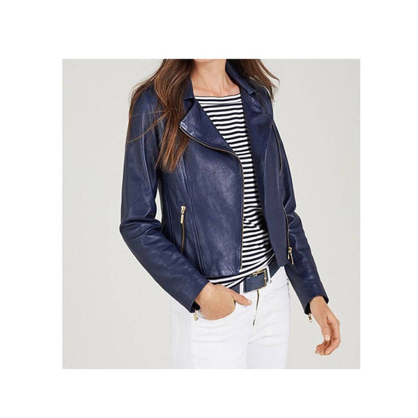 RUTH LANGSFORD VINTAGE BLUE WOMEN BIKER LEATHER JACKET -