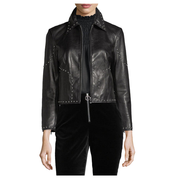 Women Pins Army Leather Zipper Jacket -