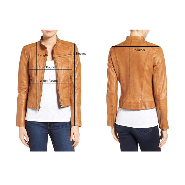 WOMEN PUNK FASHION BIKER LEATHER JACKET -