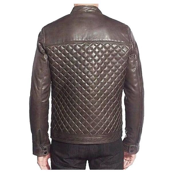 Men Cafe Racer Diamond Bomber Leather Jacket -