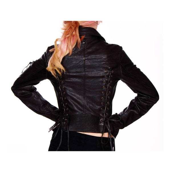 Women Vintage Stripe Leather Motorcycle Jacket -