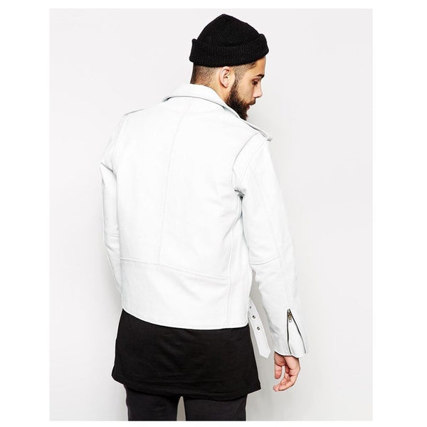White Heavy Biker Jacket - Jackethunt