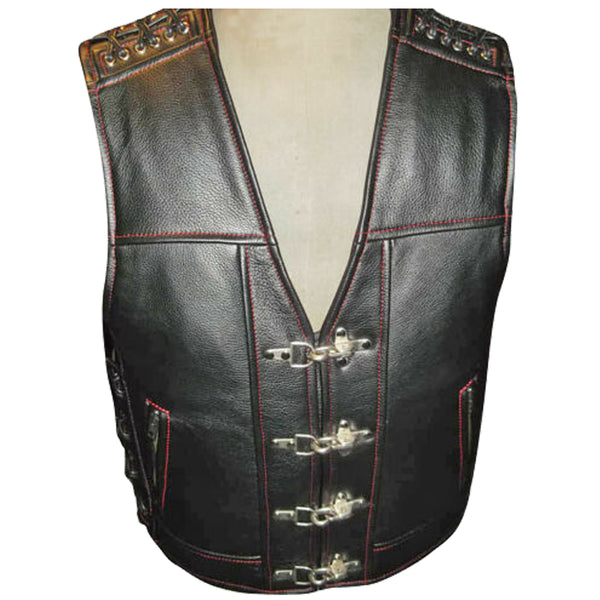 Men Motorcycle Leather Vest For Sale Red Thread