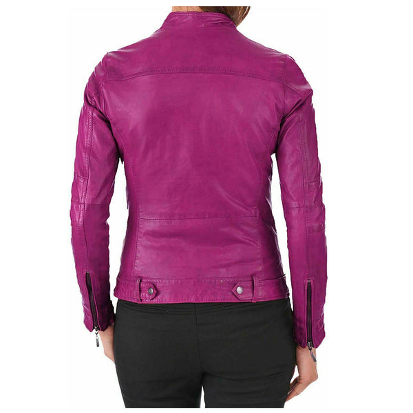 Basic Women Lambskin Leather Motorcycle Jacket - High Quality Leather Jackets For Sale | Dream Jackets On Jackethunt