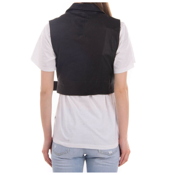 Women Short Body Motorcycle Leather Vest Sexy Black Biker Vest