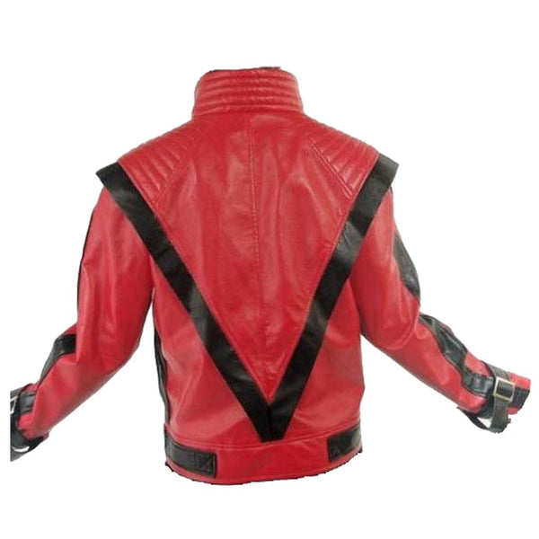 Michael Jackson Thriller Red Military Leather Jacket -