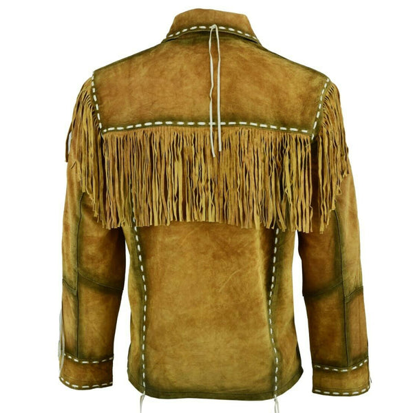Men Coyboy Fringe Brown Suede Leather Shirt -