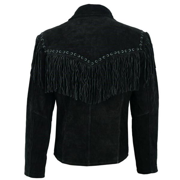 Men Black Suede Leather Western Jacket -