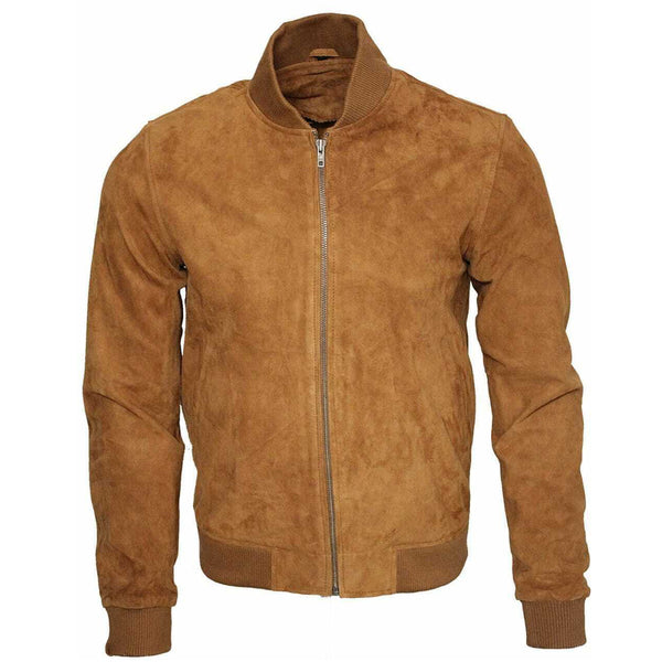 Men Brown Western Bomber Suede Leather Jacket