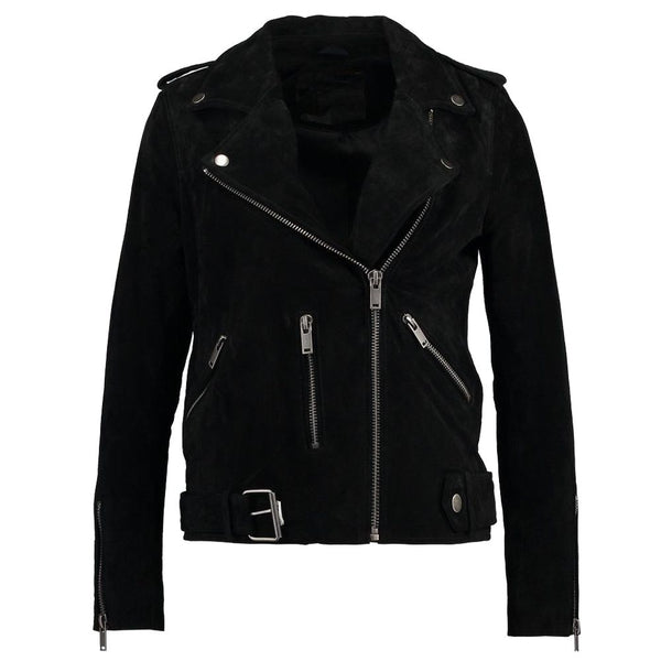 Women Black Suede Leather Motorcycle Jacket -