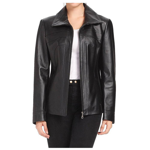 WOMEN LAMBSKIN FASHION SCUBA LEATHER JACKET - jackethunt