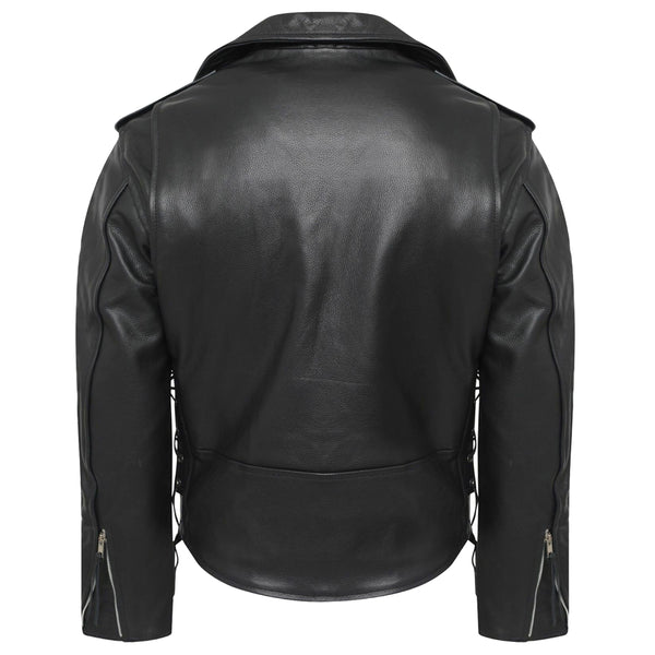 MEN CLASSIC MOTORCYCLE GENUINE LEATHER SIDE LACE BRANDO JACKET BIKER RESISTANT -