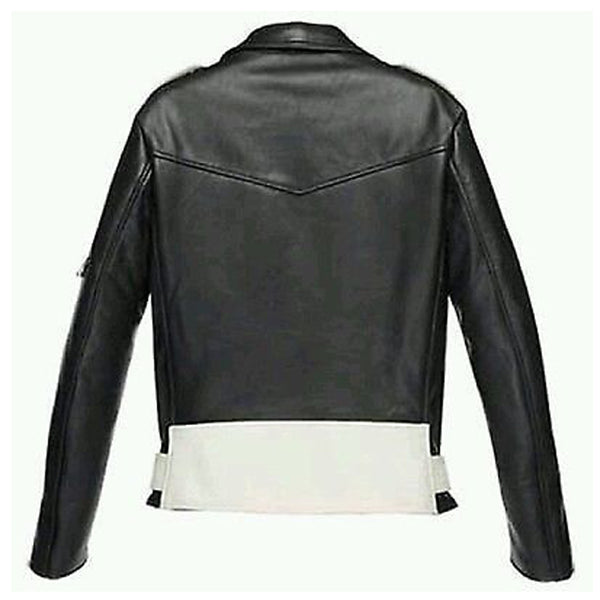Black And White Biker Jacket - JacketHunt