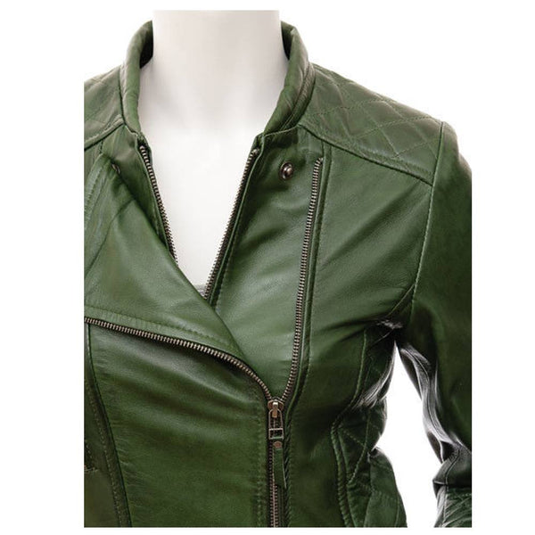 GREEN CLASSIC MOTORCYCLE WOMEN LEATHER JACKET - jackethunt