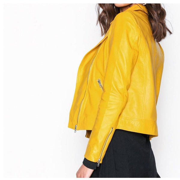 Yellow Retro Women Fashion Leather Jacket -