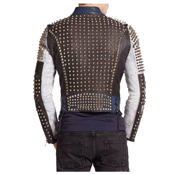 STYLISH HANDMADE MEN'S GOLDEN STUDDED MULTI COLOR LEATHER JACKET -