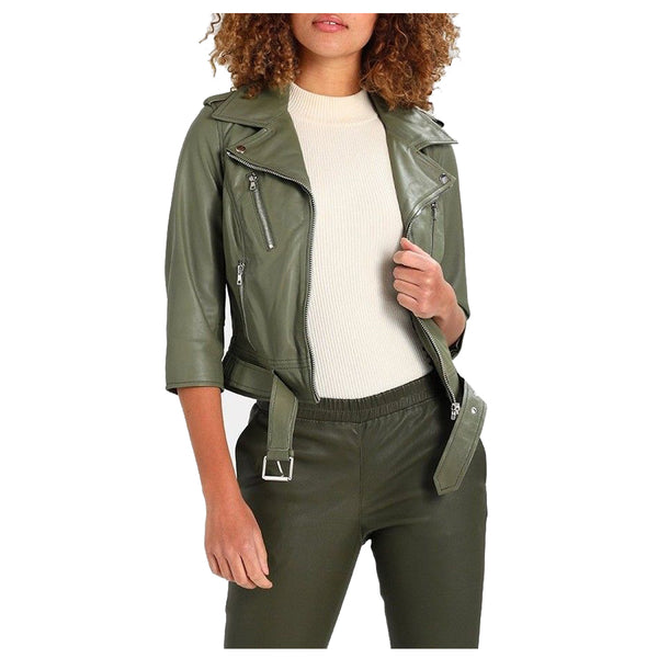 Women Olive Green Motorcycle Genuine Leather Jacket -