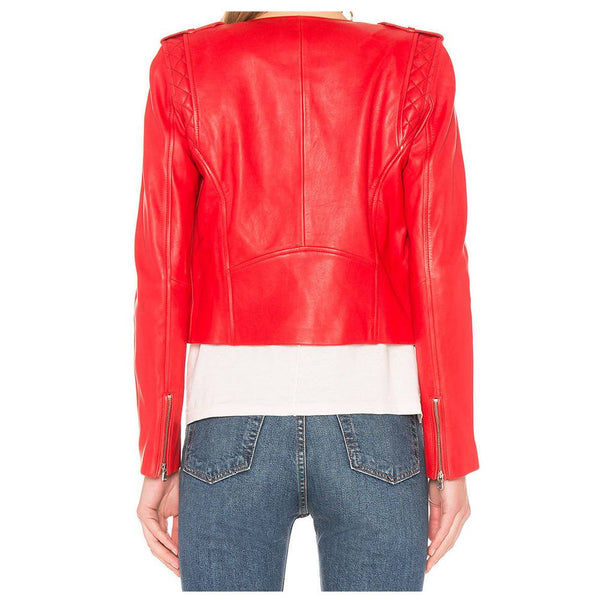 WOMEN RED LEATHER JACKET WOMEN BIKER MOTO PURE LAMBSKIN -