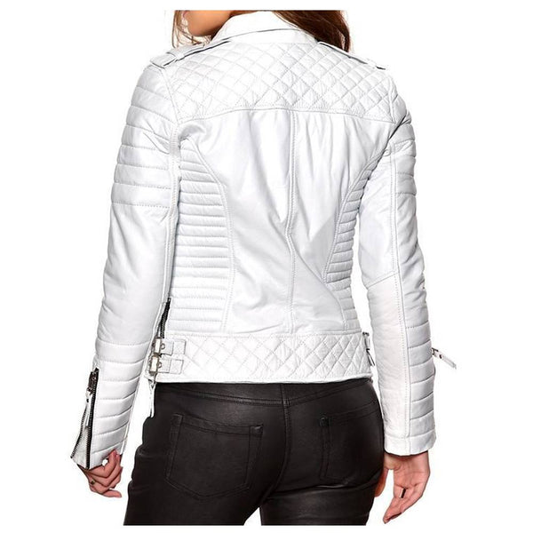 Women Soft Slim Fit Motorcycle Leather Jacket White -
