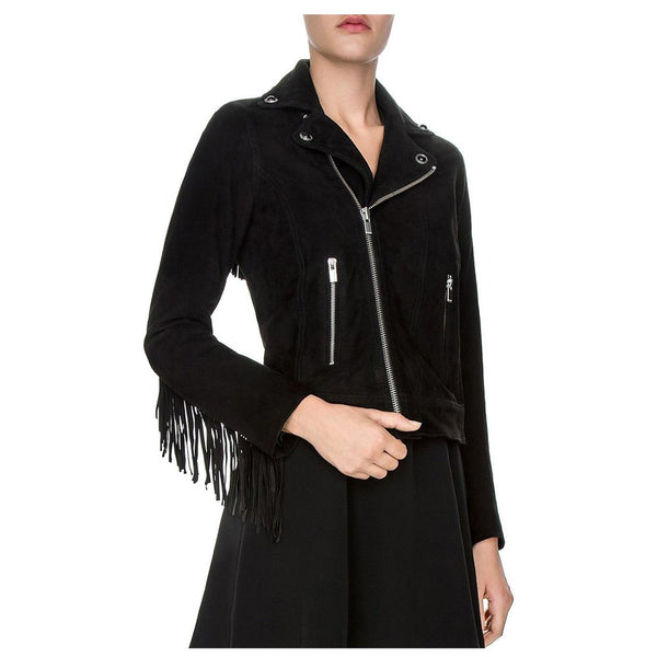 WOMEN SUEDE GENUINE LEATHER FRINGE BIKER JACKET -
