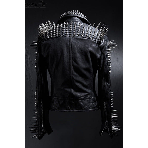 MEN PUNK HARD ROCK FASHION BLACK CUSTOM STUD SOLID LEATHER JACKET -