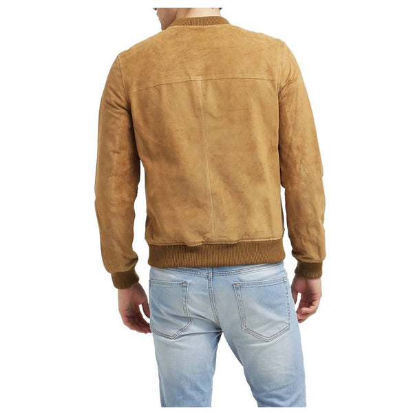 Suede Leather Bomber Jacket - JacketHunt