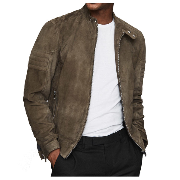 MEN MOTORCYCLE RIDER SUEDE LEATHER JACKET -