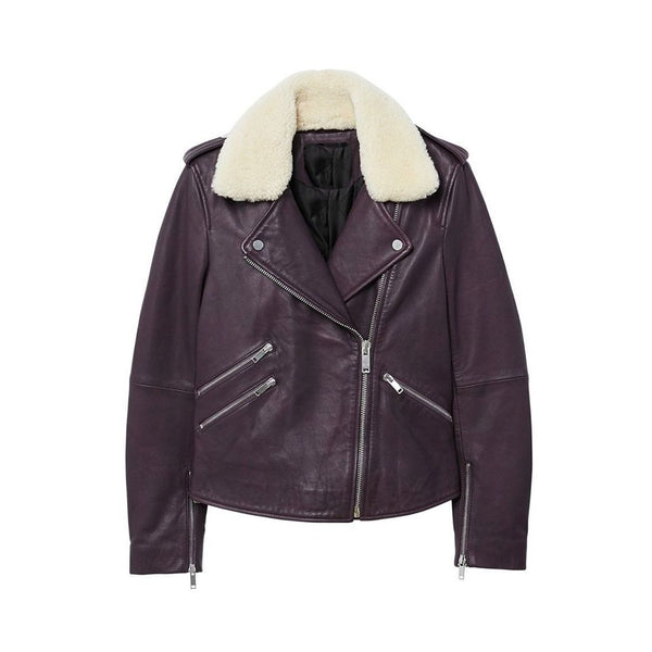 WOMEN GENUINE LEATHER BIKER JACKET FAUX -
