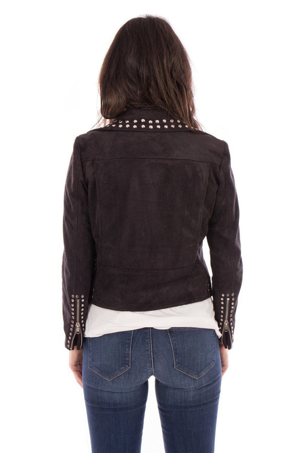 Made To Order Women's Black Genuine Suede Leather Silver Studded Brando Jacket -