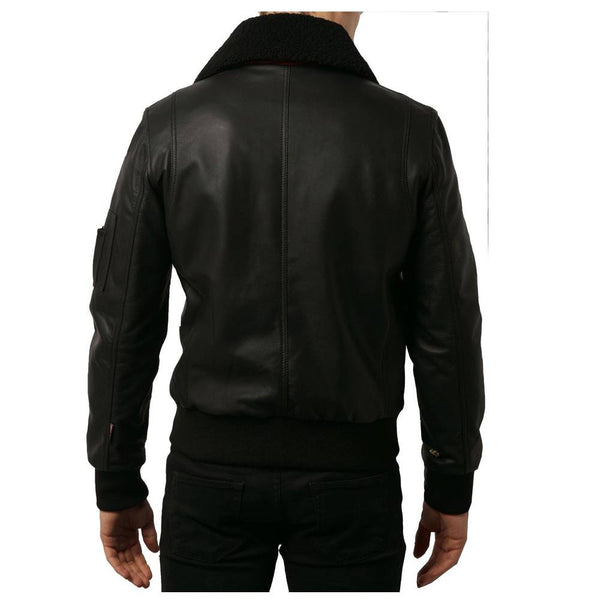 Men Black Bomber Fashion Leather Jacket