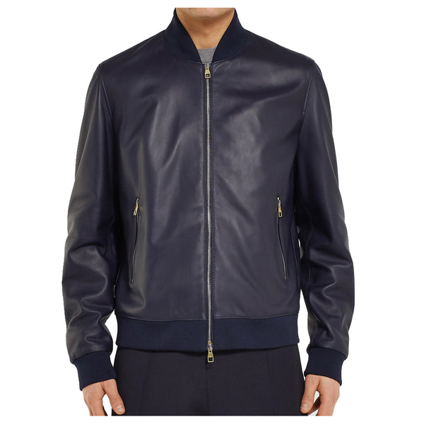 Men Elegant Bomber Fashion Blue Leather Jacket -