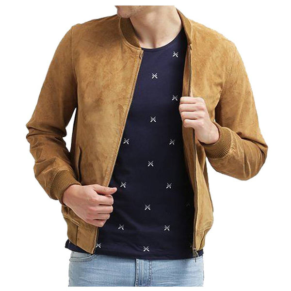 Suede Leather Bomber Jacket -