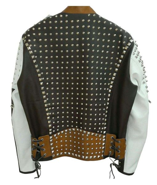 Mens Cafe Racer Studded Leather Jacket - Jackethunt