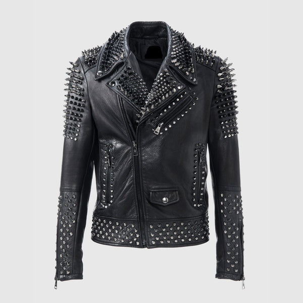 Men Philipp Plein Black Silver Studded Biker Leather Jacket Brando Zipper - Jackethunt
