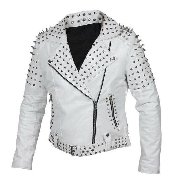 Customized Women's White Brando Style Belted Leather Silver Spike White Studded -