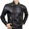 Men Golden Studded Zipper Fashion Leather Jacket