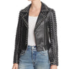 New Rebecca Minkoff Adelia Black Punk Silver Studded Leather Jacket 2019 -
