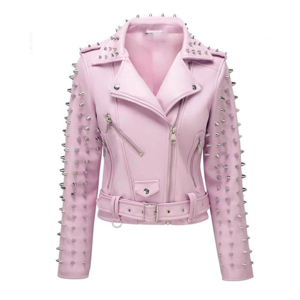 New Woman Baby Pink Full Spiked Studded Brando Punk Cowhide Leather Jacket 2019 -
