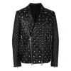 Men Handmade Fashion Full Black Quilted Leather Jacket Studs