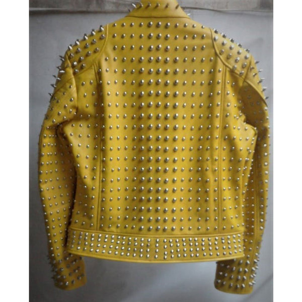 Yellow Studded Jacket Customized Handmade Biker Leather Jacket, Silver Spiked St - Jackethunt