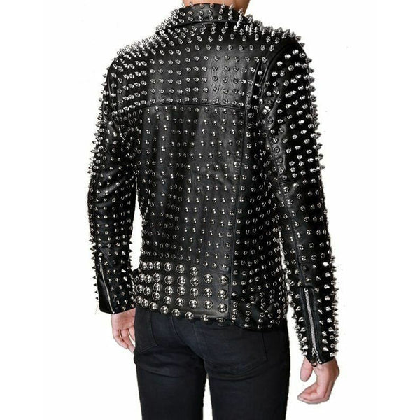 Men's Lambskin leather punk Full Silver studded black motorcycle jacket coat -