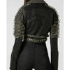 New Women Jacket Silver Spiked Studded Punk Biker Leather Jacket All Sizes -