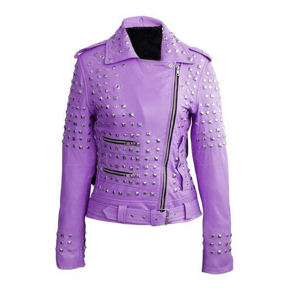 Genuine Cowhide Leather Women Purple Handmade Silver Studded Metal Punk Jacket - jackethunt
