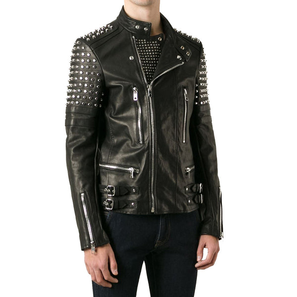 New Classy Looking Studded Men Biker Leather Jacket Design With Unique Features - JacketHunt